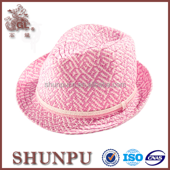 women custom pink fedora hats