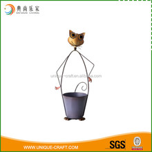 Unique design metal animal figurine flower pot power coated mouse planter for garden decoration