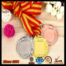 Blank sports medal, gold silver bronze sports award medallion