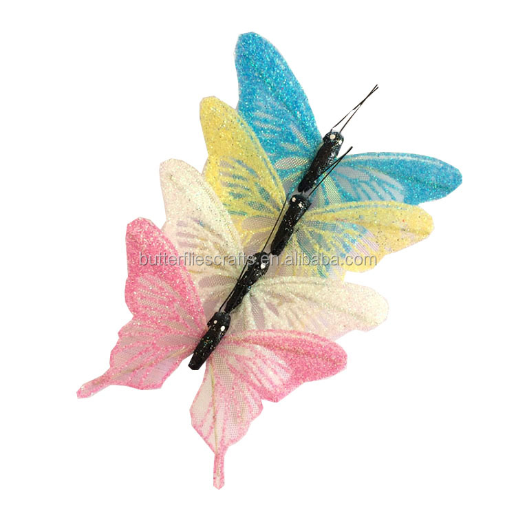 Delicate design organza butterflies decoration for floral accessories