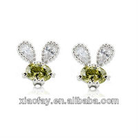 New cute rabbit design cubic zirconia stud earrings for girl