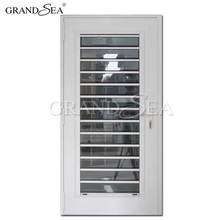 White aluminum framed storm door exterior glass louver door designs for villa