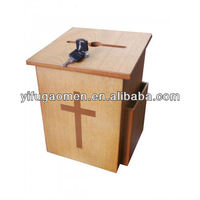 wholesale new wooden donation boxes church box