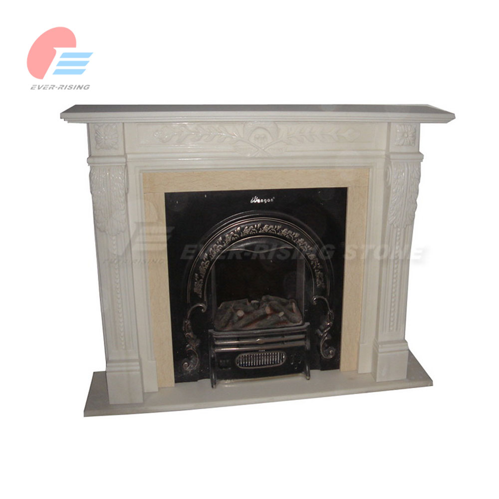 Beige Marble Fireplace Mantel with carving