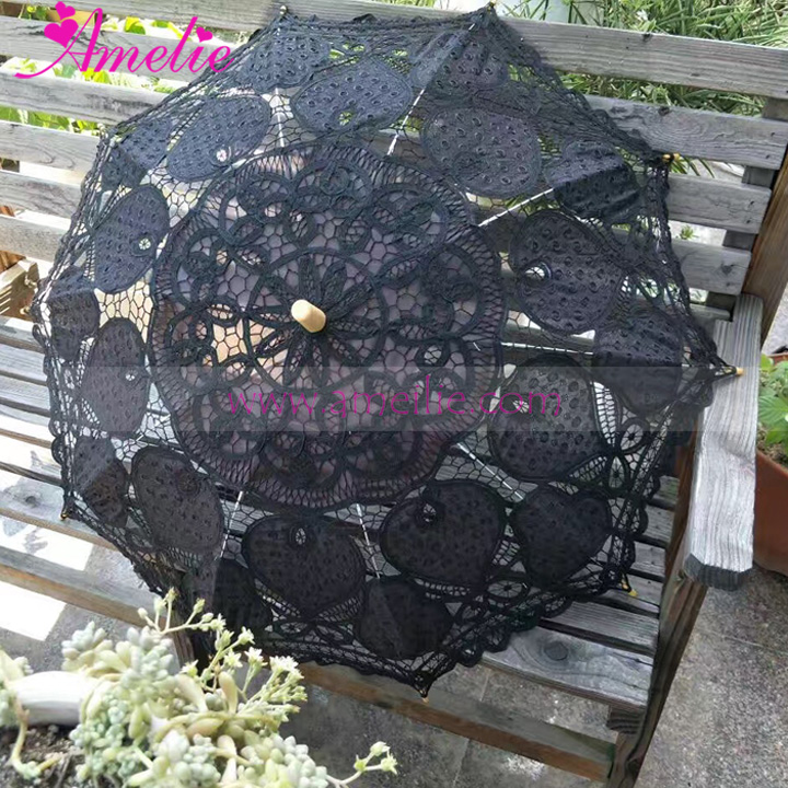 Black With Gold Gothic Party Dancing Umbrella Lace Parasol Wedding Shower Decoration Bridal Umbrella Wedding Table Centerpieces