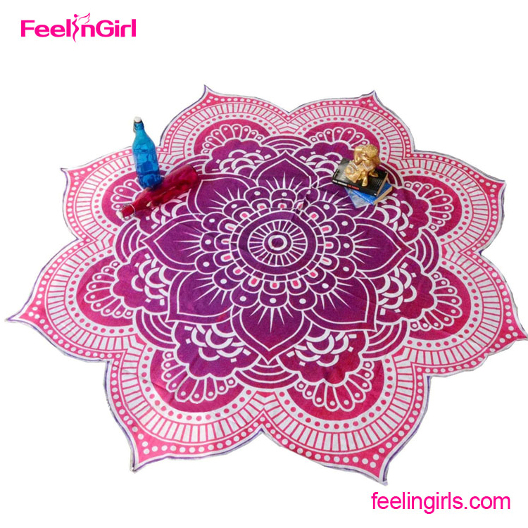 cheap wholesale red floral printed round towel for beach