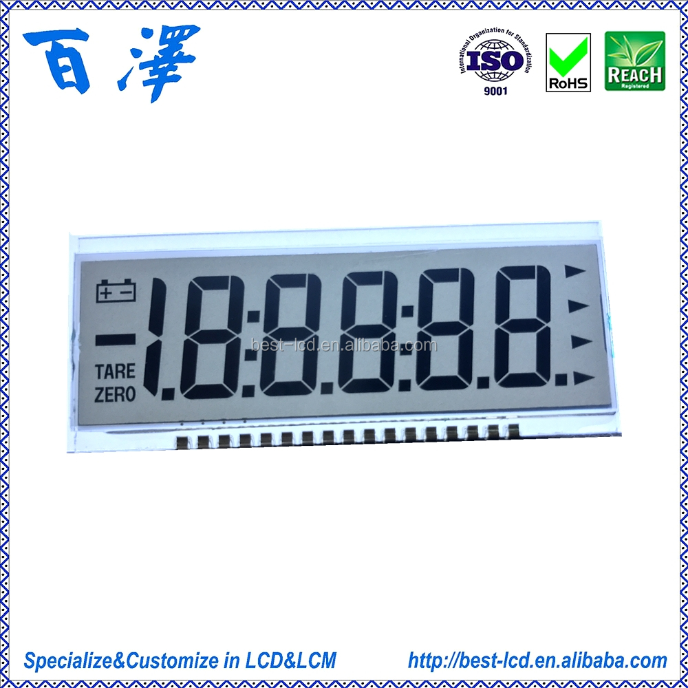 12 o'clock 3.0V Transflective 4/5/5.5/6 Digits 7 Segment LCD Display For Physician/Weighing /Industrial Electronic Scale