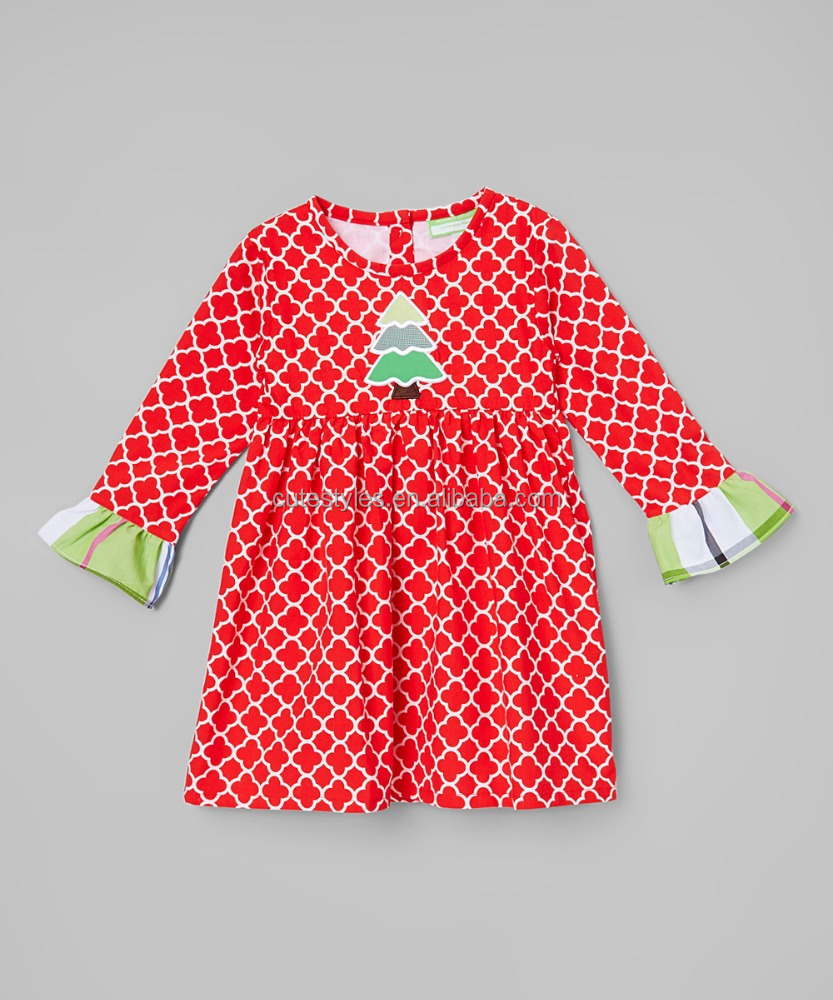 2015 New Arrival Children Frock Red Quatrefoil Tree Ruffle Cute Baby Girl Sleep Dress -Chidren Girls Clothes Z-GD80812-27