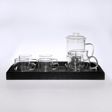 High-grade heat-resistant glass pot warmer cup coffee set with black tray