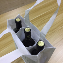 Bulk Reusable Cheap PP Non Woven 3 Bottle Wine Gift Tote Bags