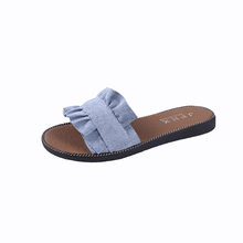 new arrive Spring and summer women shoes <strong>slippers</strong> lotus leaf side Leisure beach shoes flat Shoes women <strong>slippers</strong>