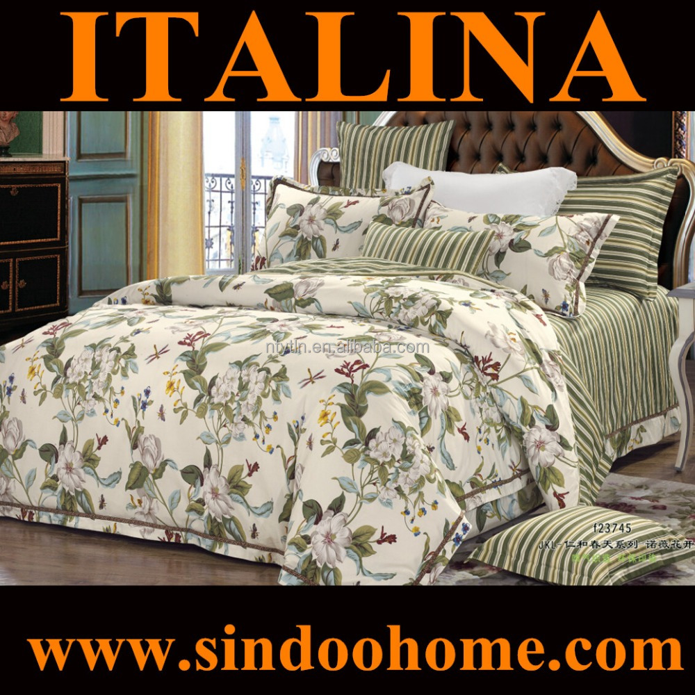 countryside style classical floral pattern 100% woven cotton printed quilt cover set S-JKL-23745