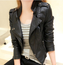 Japanese Girl 2016 Women's Short BIker Leather Jacket In Low Price