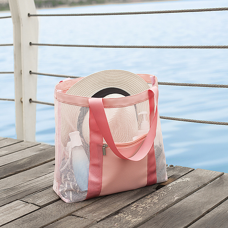 Custom Extra Large Capacity Travel Pool Waterproof PU Foldable Luxury Bag Exterior Zipper Pocket Mesh Beach Bag with <strong>Tote</strong>
