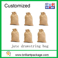 Customized size wholesale cheap promotional jute drawstring wine gift bag
