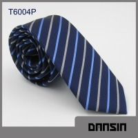 High Quality Blue striped Polyester Mens Necktie