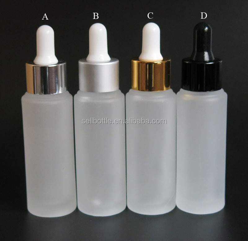 Hot selling 30ML 1 OZ frosted glass dropper bottle with metallic cap for juice e lqiuid cosmetic package