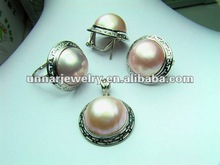 MBES-002 fashion desaing, large size 16mm Round Mabe Sea Pearl Set