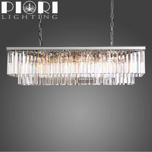 High Quality decoration home 8 Lights rectangular crystal chandeliers