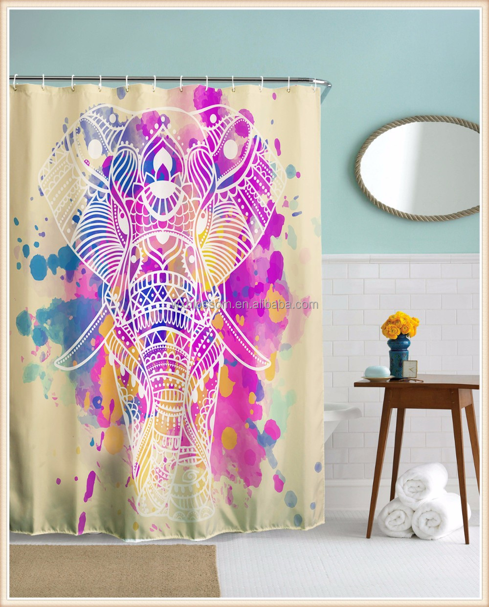 Luxury digital printed polyester showeroom hanging curtain