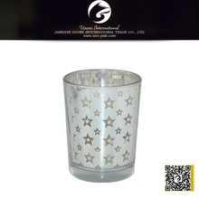 five-pointed star silver glass candle holder