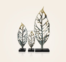 Abstract Modern Home Decoration Art Banana Leaves For Tabletop Decor Home Decor With Silver