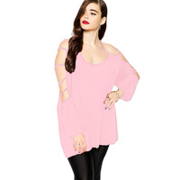 Latest dressy pink plus cut out swing arm top different style of blouses