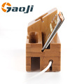 Newest Holder for iPhone 4 5 6 Docking Station Bamboo Wooden Divide wire Charging station
