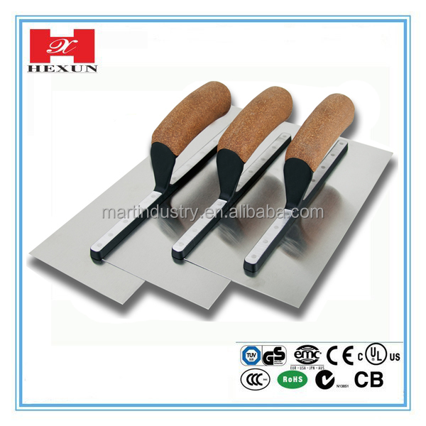 wooden handle carbon steel blade notched trowel