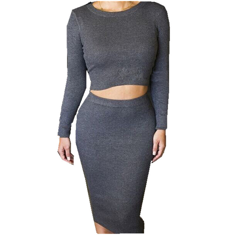 Get Quotations · 2015 Fashion Long Sleeve Saia Longa Cropped Top and Skirt  Set Women High Waist Vestidos Grey - Cheap Grey Pencil Skirt Outfit, Find Grey Pencil Skirt Outfit