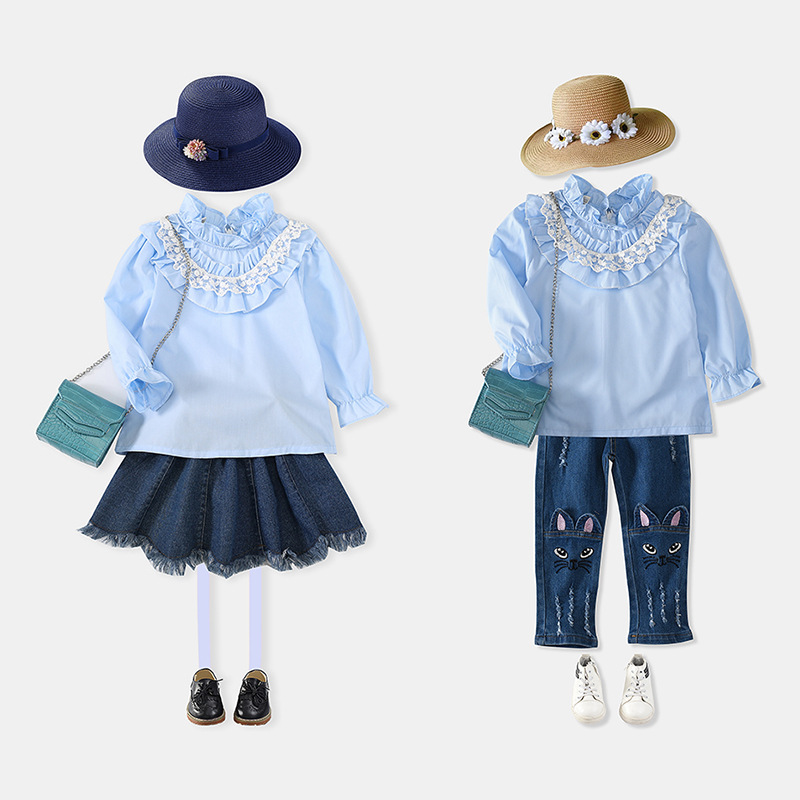 Wholesale New Clothes Laced Top Mandarin Collar Shirt For Girls Boutique Clothing