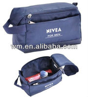 Polyester travel cosmetic bag double zipper