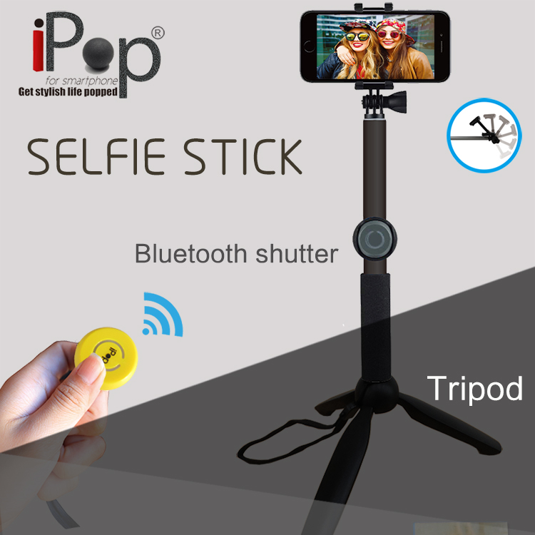 Bluetooth Extendable selfie stick with Remote Button Tripods