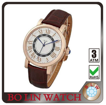 solid 316L stainless steel watch bronze leather watch round face