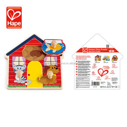 Water based paint New design baby wooden 3d puzzle house