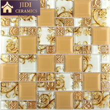 Special Design Wheat Colored Mirror Mixed Phoenix Pattern Mosaic Wall Tiles