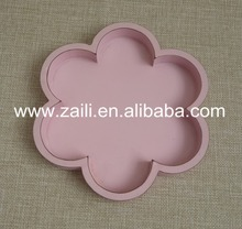 Home decoration items 20*2cm pink flower shape unfinished wood trays