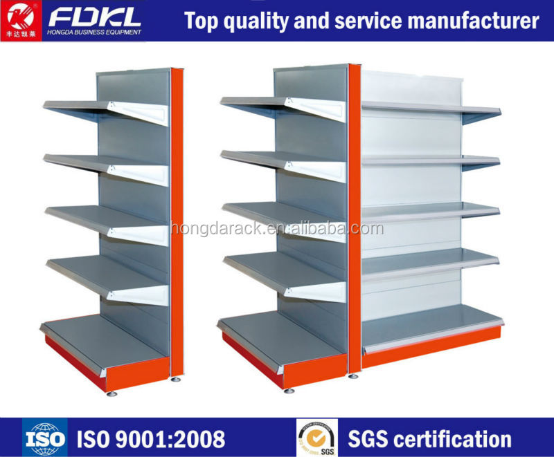 Adjustable medium Double sided metal display supermarket rack book shelf