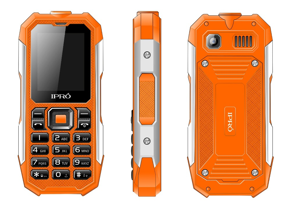 "Waterproof Shockproof 2.0"" 2500mAh Dual SIM Outdoor rugged feature phone transparent"