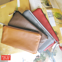 High quality popular basic style zipper blank brown color leather men's cosmetic bag