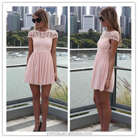 Wholesale Cheap Pink Chiffon Crinkle Models Casual Dress For Girls