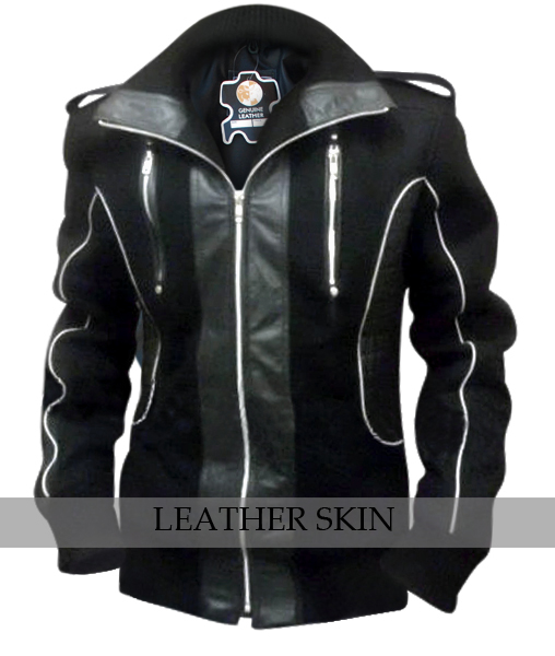 NWT Black Fashion Stylish Sexy Premium Fabric Jacket with Leather Panels / Patches - XS S M L XXL XXXL XXXXL 2XL 3XL 4XL