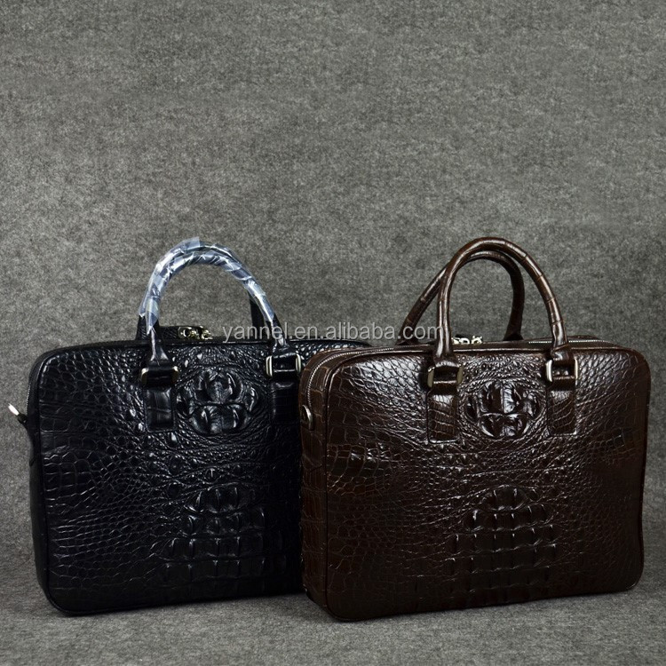 real crocodile men tote Bag leather office Messenger Bag