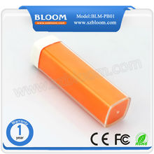 portable power bank charger/2600mah power bank/lipstic mobile rohs power bank charger