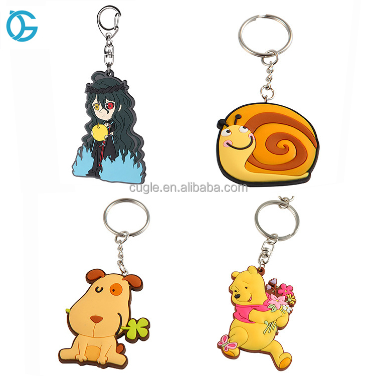 2017 Hot Selling Factory Promotional Gift Custom Made Cartoon Soft PVC Keyrings
