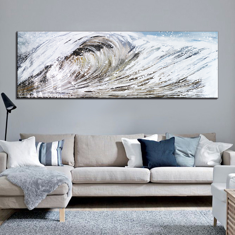abstract Sea wave scenery oil painting large painting on canvas wall art cuadros oil painting nordic home tableaux decoration