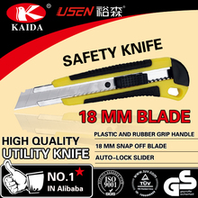 High quality plastic handle 18mm snap off blade utility cutter knife