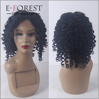 Top Grade Virgin Brazilian Human Hair Deep Wave Wig Silk Top European Hair Full Lace Wig