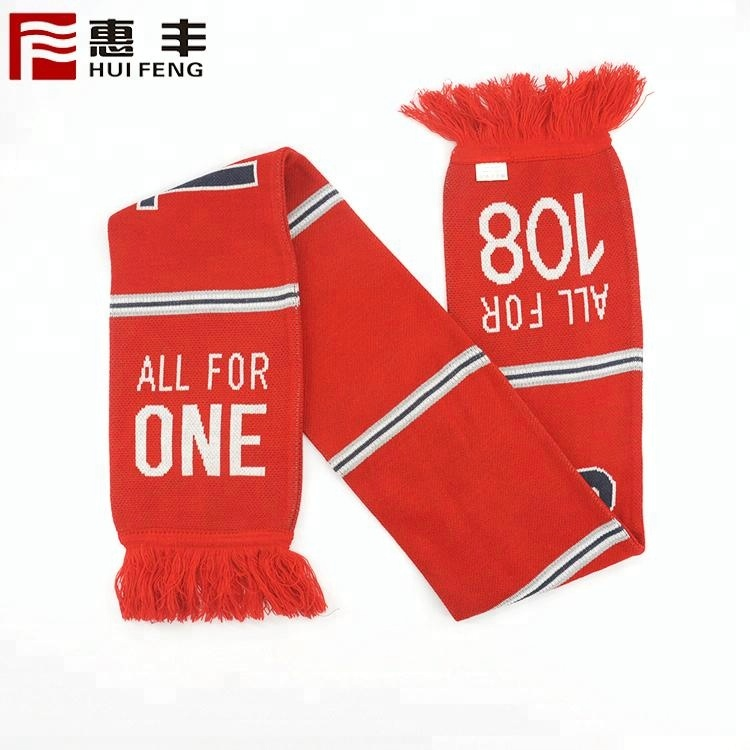 Good Quality Low MOQ Good Price Polyester Acrylic Double Sides Knitted Sports Fan Cheering Custom Football Team Scarf
