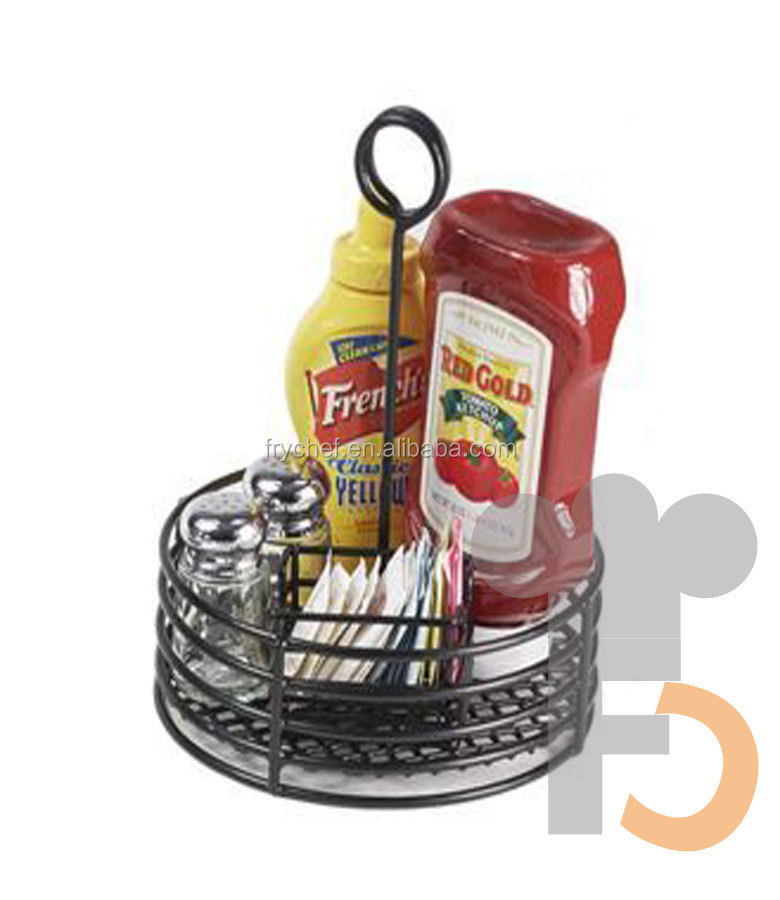 Table Top Server Metal Wire Restaurant Condiment Caddy Holder Basets
